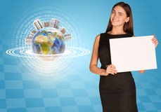 Beautiful businesswoman holding paper holder. Royalty Free Stock Photo