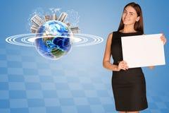 Beautiful businesswoman holding paper holder. Stock Image