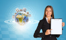Beautiful businesswoman holding paper holder. Stock Photography