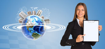 Beautiful businesswoman holding paper holder. Royalty Free Stock Images