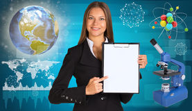 Beautiful businesswoman holding paper holder. Royalty Free Stock Photography