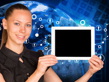 Beautiful businesswoman holding tablet pc with Royalty Free Stock Images