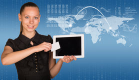 Beautiful businesswoman holding tablet PC. World Stock Photos