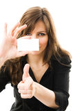 Beautiful businesswoman holding a white card Stock Image