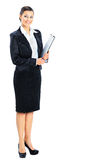 Beautiful businesswoman. Holds a work plan. Isolated on a white background Stock Photography