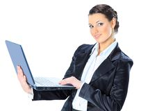 Beautiful businesswoman keeps the laptop Stock Photo