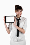 Beautiful businesswoman keeps the tablet Royalty Free Stock Photo