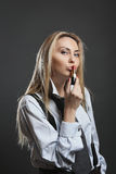 Beautiful businesswoman kissing lipstick Royalty Free Stock Image