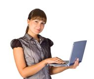 Beautiful businesswoman with laptop. Over white background Royalty Free Stock Images