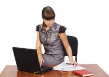 Beautiful businesswoman with laptop. Over white background Stock Image