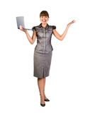 Beautiful businesswoman with laptop. Over white background Royalty Free Stock Photos