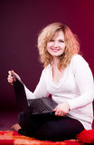 Beautiful businesswoman with laptop Royalty Free Stock Photography