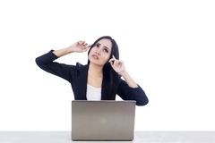 Beautiful businesswoman and laptop Royalty Free Stock Photos