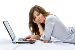 Beautiful businesswoman with a laptop. White background Royalty Free Stock Photography