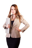 Beautiful businesswoman with a laptop in hand isolated on white Stock Images