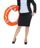 Beautiful businesswoman with life buoy Stock Images
