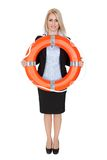 Beautiful businesswoman with life buoy Stock Image