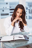 Beautiful businesswoman looking at diary in office Stock Photo