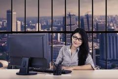 Beautiful businesswoman looks confident Stock Photo