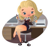 Beautiful businesswoman with note. Vector Illustration of a young and beautiful businesswoman Stock Image
