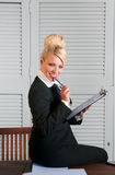 Beautiful businesswoman with paper Royalty Free Stock Image