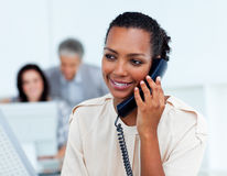Beautiful businesswoman on phone. At her desk stock photo