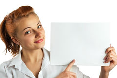 Beautiful businesswoman points to the banner Stock Photos