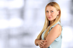 The Beautiful  businesswoman  portrait. Blue background Stock Photography