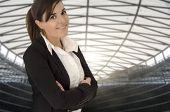 Beautiful businesswoman portrait in business environment. Caucasian beautiful businesswoman portrait in business environment on profile stock images