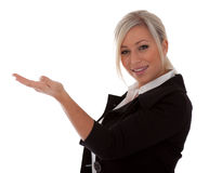 Beautiful businesswoman presenting Royalty Free Stock Photography