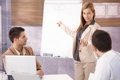Beautiful businesswoman presenting to colleagues. Beautiful young businesswoman presenting to male colleagues Royalty Free Stock Image