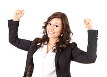 Beautiful businesswoman with raised arms Royalty Free Stock Photography