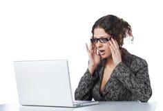 Beautiful businesswoman reading bad news Royalty Free Stock Photo