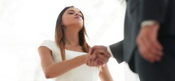 Beautiful businesswoman shaking hand with her partner Royalty Free Stock Images