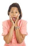 Beautiful Businesswoman - Shocked. Beautiful African-American businesswoman is shocked.  Isolated on white Royalty Free Stock Photos