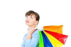 Beautiful businesswoman with shopping bas Stock Photography
