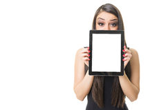 Beautiful businesswoman showing blank digital tablet screen Stock Photos