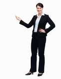 Beautiful businesswoman showing copyspace for text Royalty Free Stock Photos