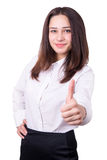 Beautiful businesswoman is showing success Stock Photo