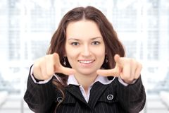 Businesswoman shows a forward Stock Image