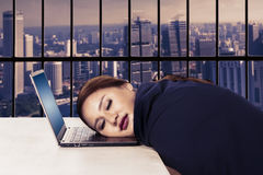 Beautiful businesswoman sleeps on laptop Royalty Free Stock Images