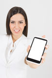 Beautiful businesswoman with smartphone Royalty Free Stock Photos
