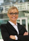 Beautiful businesswoman smiling with glasses Royalty Free Stock Images