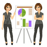 Beautiful businesswoman standing near flip board pointing and explaining finances concept Royalty Free Stock Photos