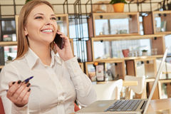 Beautiful businesswoman talking on the phone Royalty Free Stock Image