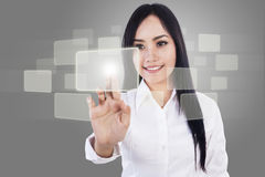 Beautiful businesswoman and touch screen Royalty Free Stock Images