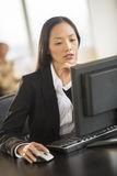 Beautiful Businesswoman Using Computer At Desk In Office. Mid adult businesswoman using computer at desk in office with female colleague sitting in background Stock Photo