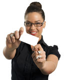 Beautiful businesswoman with visitcard. Business woman smart girl glass yang Stock Photos