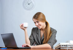 Beautiful businesswoman working on Stock Photo