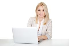 Beautiful businesswoman working on computer Stock Photo